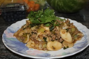 Rice cake noodle with Chinese Greens and Pork