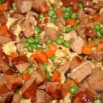Mix eggs with meat and veggies