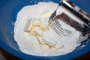 Cut butter into flour mixture
