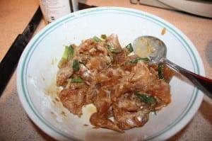 Mix Cornstarch with chicken