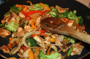 Mix chicken and vegetables together
