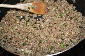 Cook the green onions, add the beef and flour