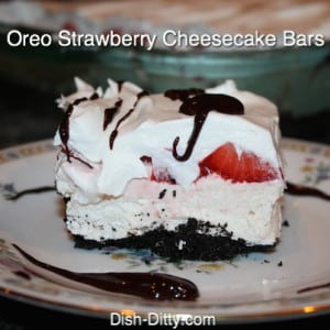 No Bake Strawberry Oreo Cheesecake Bars