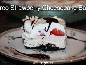 Oreo Strawberry Cheesecake Bars by Dish Ditty
