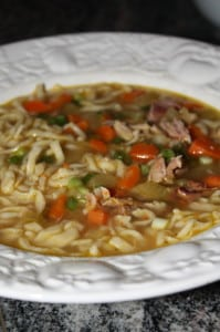 Leftover turkey soup with homemade egg noodles