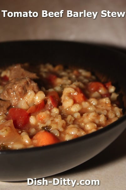 Tomato Beef Barley Stew by Dish Ditty Recipes