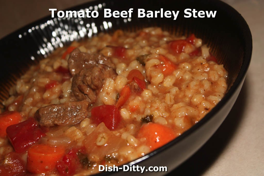 Tomato Beef Barley Stew Recipe by Dish Ditty Recipes