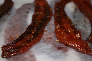 Place bacon on wax paper