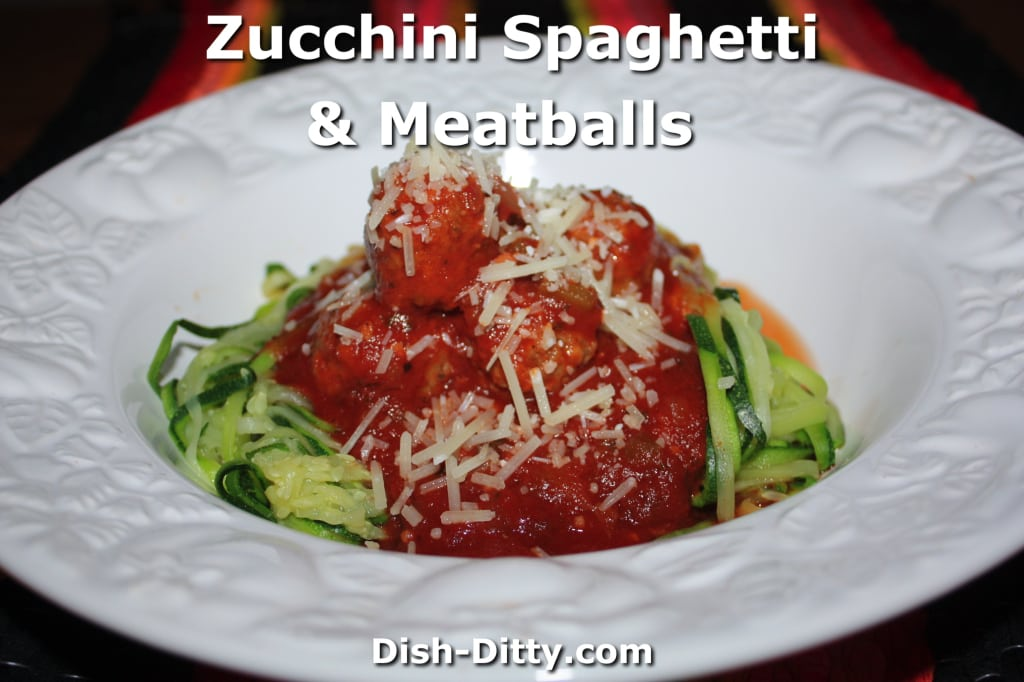 Zucchini Spaghetti & Meatballs by Dish Ditty Recipes