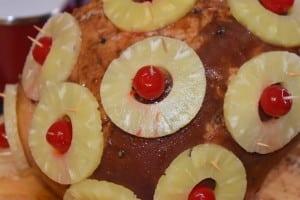 Secure pineapple and maraschino cherries