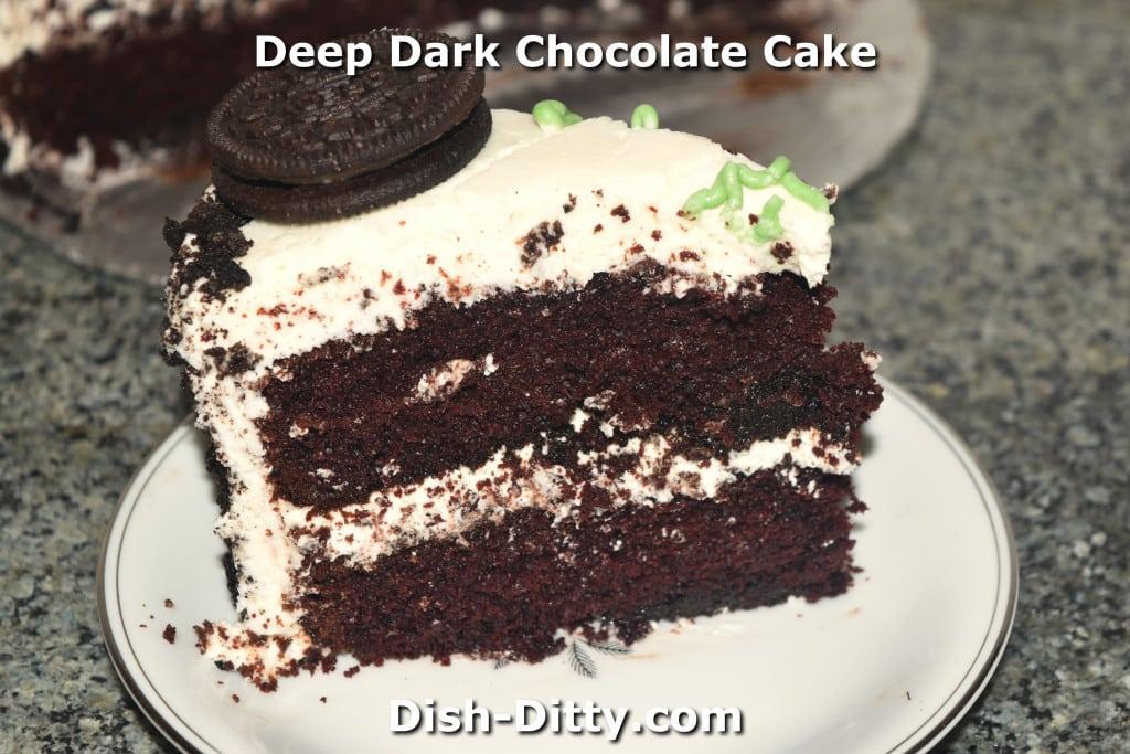 Deep Dark Chocolate Cake by Dish Ditty Recipes