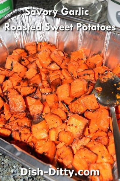 Savory Garlic Roasted Sweet Potatoes Recipe by Dish Ditty Recipes