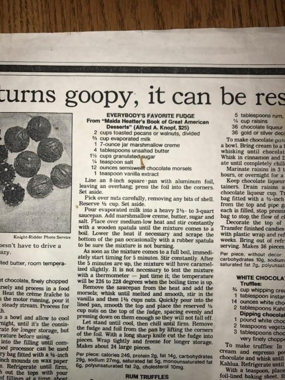 Newspaper Article with Fudge Recipe