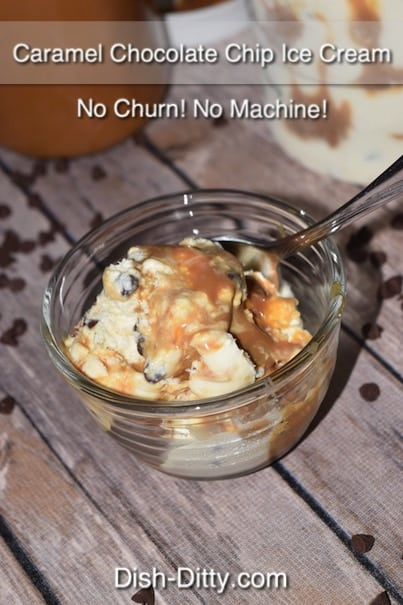 Easy Caramel Chocolate Chip Ice Cream Recipe (No Churn) by Dish Ditty Recipes