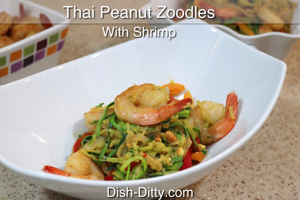 Thai Peanut Zoodles with Shrimp Recipe by Dish Ditty Recipes