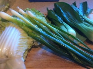 Fresh Vegetables: Napa Cabbage, Green Onions and Baby Bok Choy