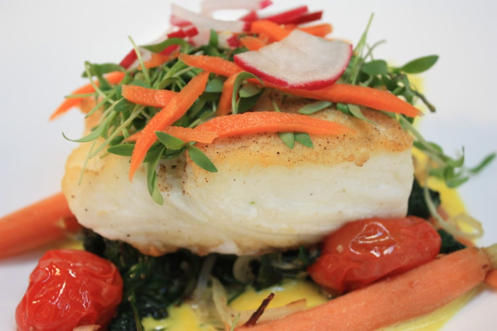 Market Fish: Halibut on a bed of Spinach with baby carrots and saffron sauce