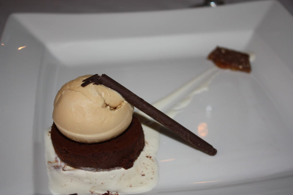 Chocolate Torte: Caramel ice cream, bacon-macadamia nut toffee with smoked sea salt and creme fraiche sauce