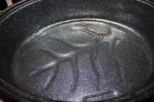 Spray pan with Pam