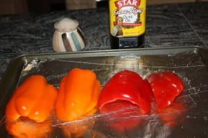 Lay out peppers on tin foil