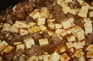 Add diced tofu