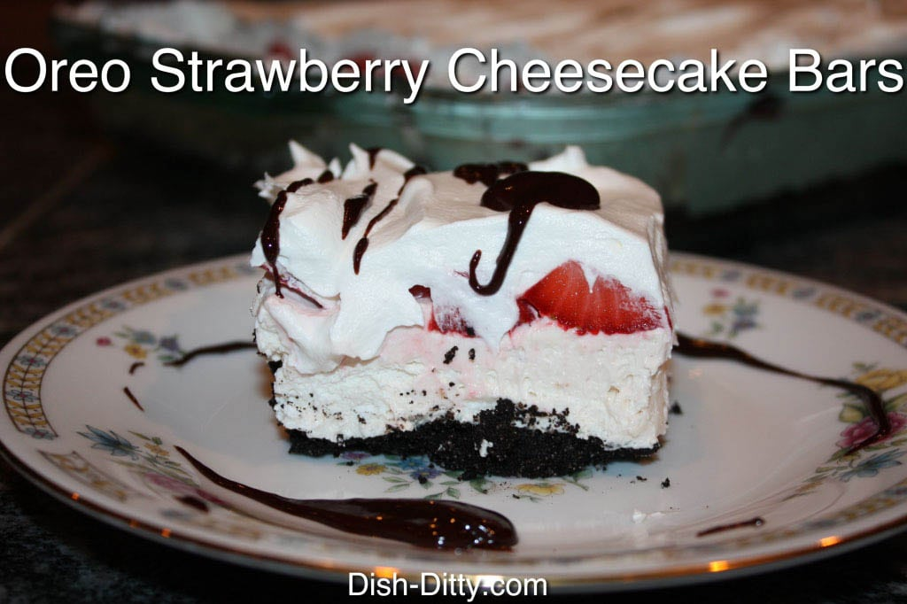 Oreo Strawberry Cheesecake Bars by Dish Ditty