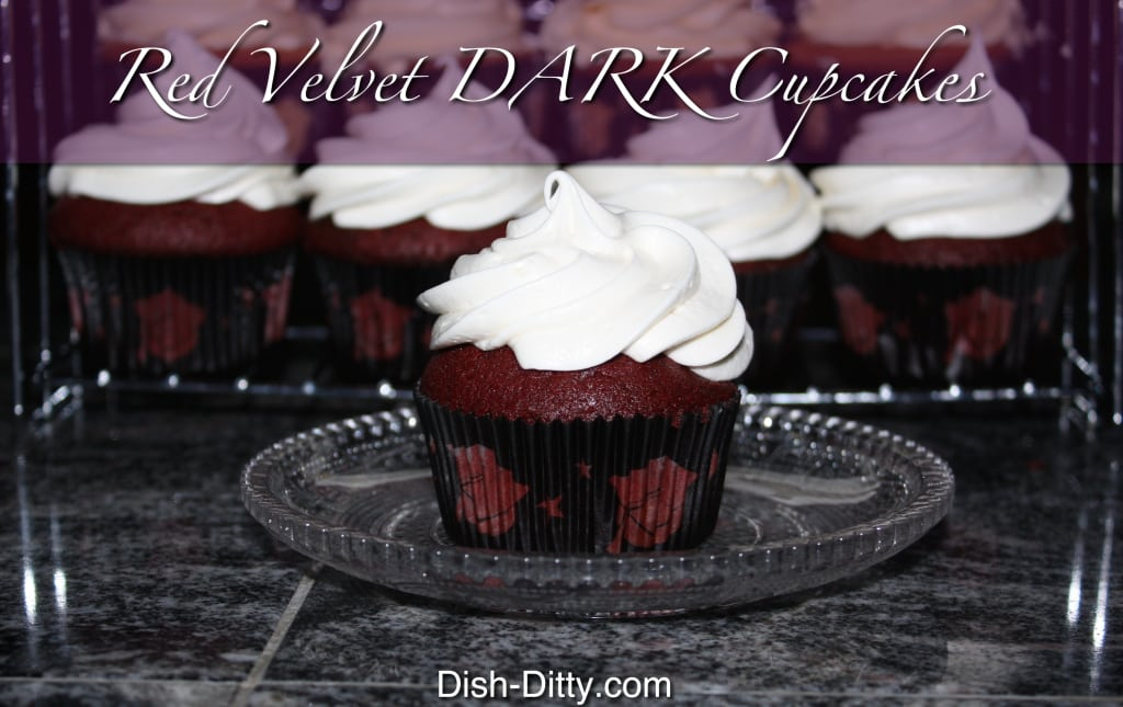 Red Velvet Dark Cupcakes by Dish Ditty