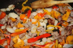 Cook onions & peppers