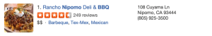 Rancho Nipomo BBQ Yelp Reviews