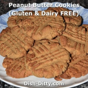 Healthy Peanut Butter Cookies  (Gluten & Dairy Free)
