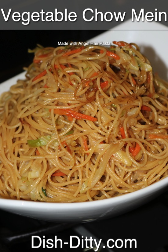 Angel Hair Vegetable Chow Mein Recipe by Dish Ditty Recipes